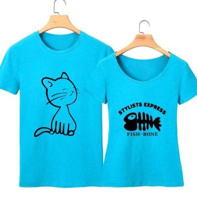 2015夏季短袖t恤猫吃鱼情侣t恤修身图案可爱卡通学生宽松夏装男女个性