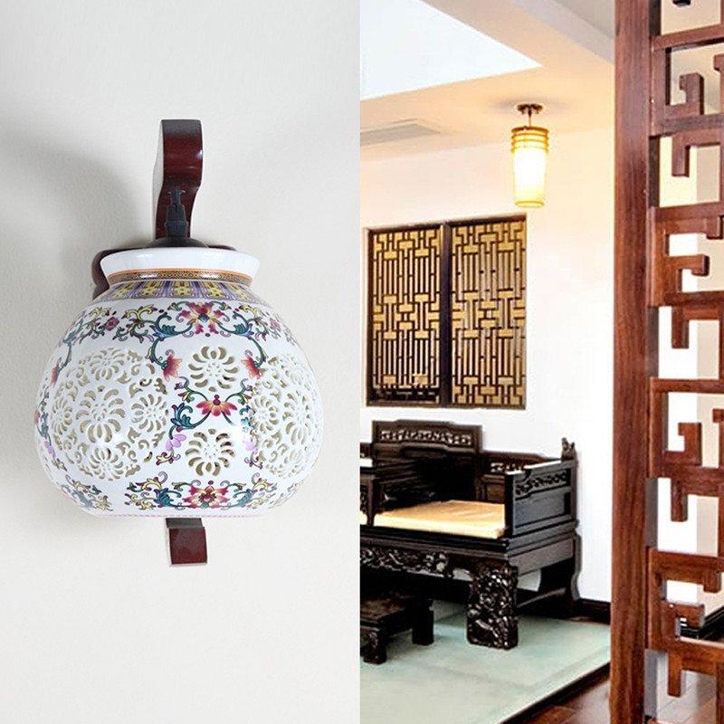 青聯中式燈壁燈 客廳壁燈臥室床頭燈中式陶瓷壁燈走廊壁燈 不含光源