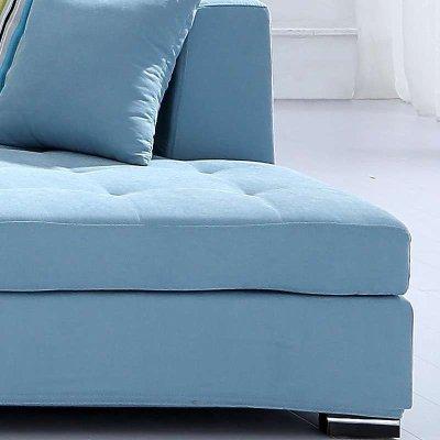 时尚豪华客厅家具布沙发 大小户型转角沙发 【五件套】浅蓝色