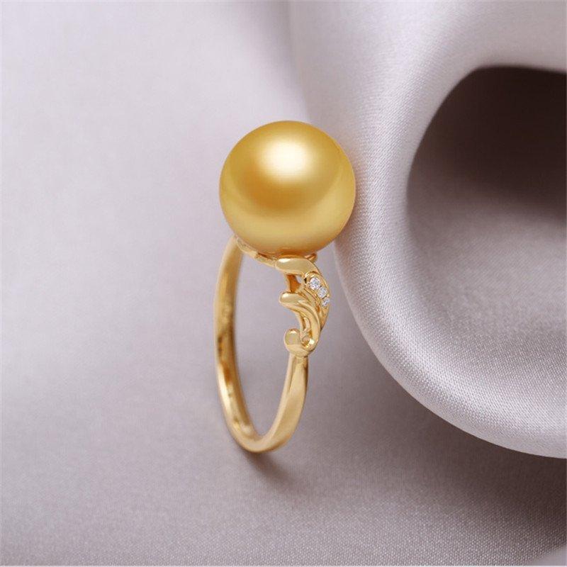 天然南洋金珠珍珠戒指图片