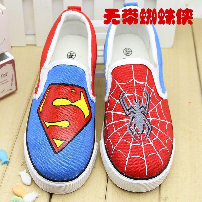 【牛牛手绘帆布鞋 】2015新款卡通蜘蛛侠男童板鞋