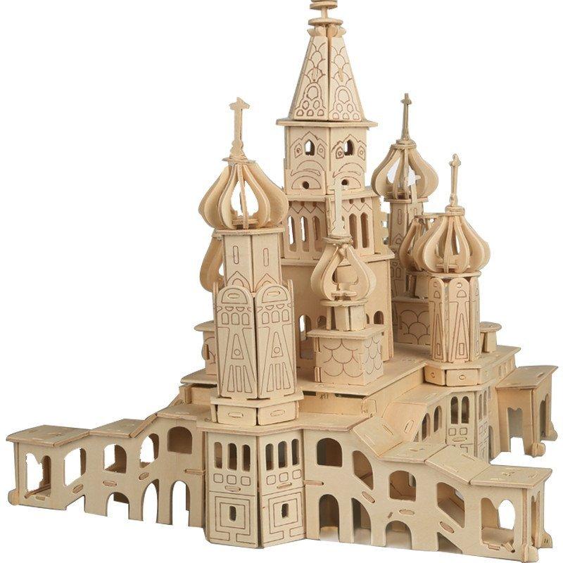 儿童益智玩具立体拼插 木质木制3d立体拼图古建筑俄罗斯城堡 积木拼装