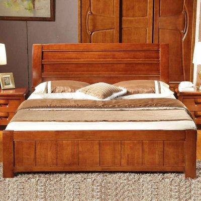 品尚美家 实木床 中式雕花 简洁大方 卧室双人大床 简约现代 宜家风格