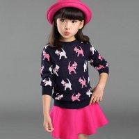 2015女童时尚毛线卡通小狗套装 女童毛衣 针织