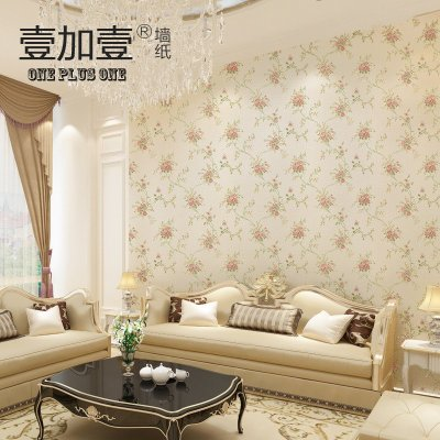 壹加壹美式复古壁纸客厅卧室无纺布纯纸田园小碎花