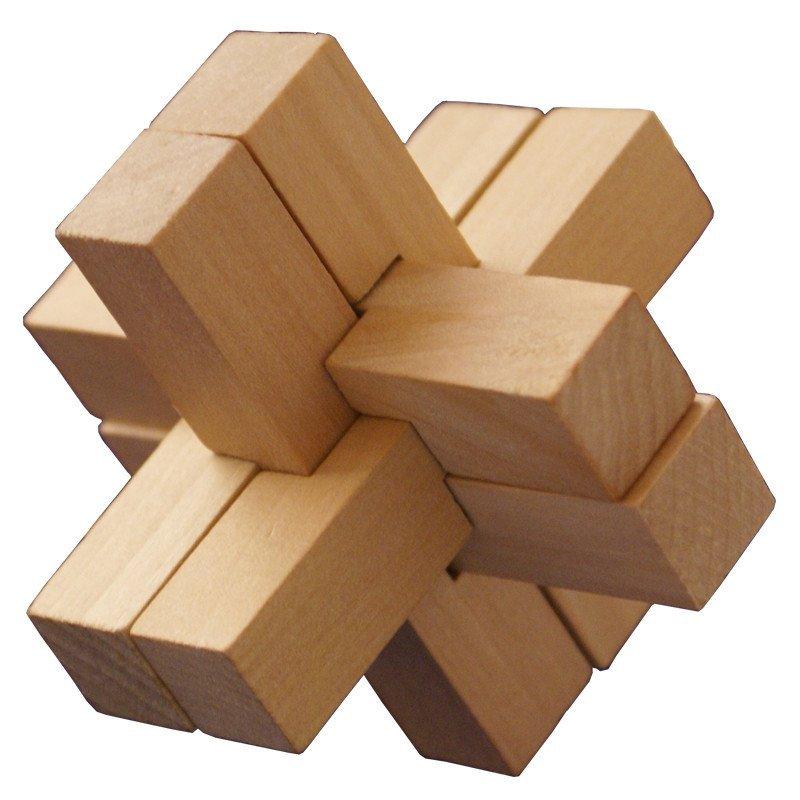 孔明锁 心锁 环环相扣 木制五件套装 儿童成人 早教益智玩具 拼插积木