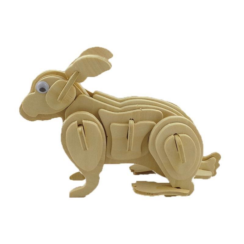 四联3d仿真儿童木制拼图玩具模型木质热销工艺装饰品十二生肖 兔子