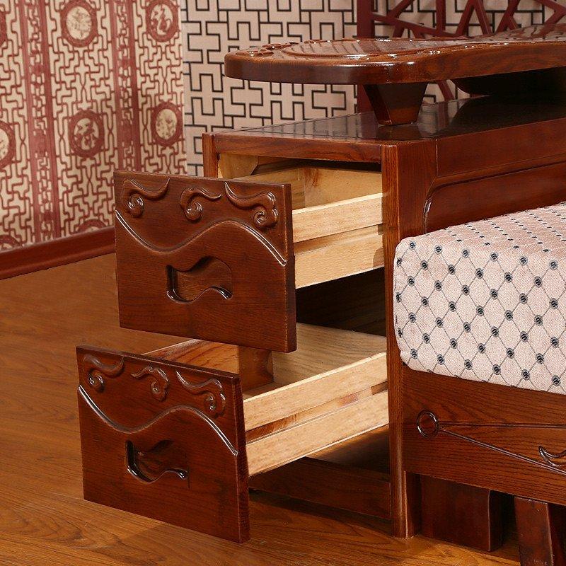 初林 中式客厅 水曲柳实木沙发 组合沙发 双人位高清实拍图