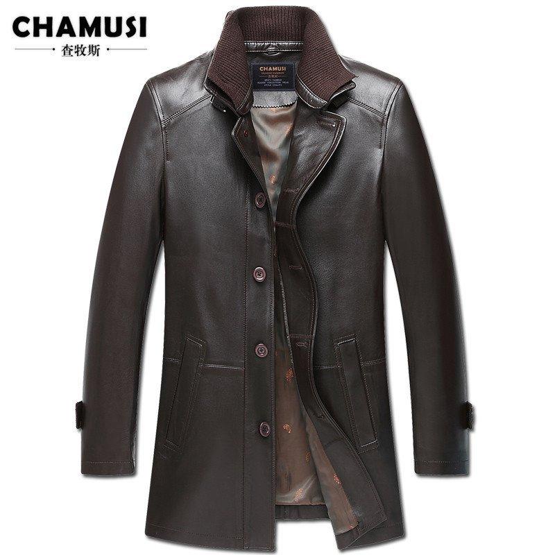 查牧斯 2015秋季新款海寧真皮皮衣夾克男中長款綿羊皮風衣外套修身圖片