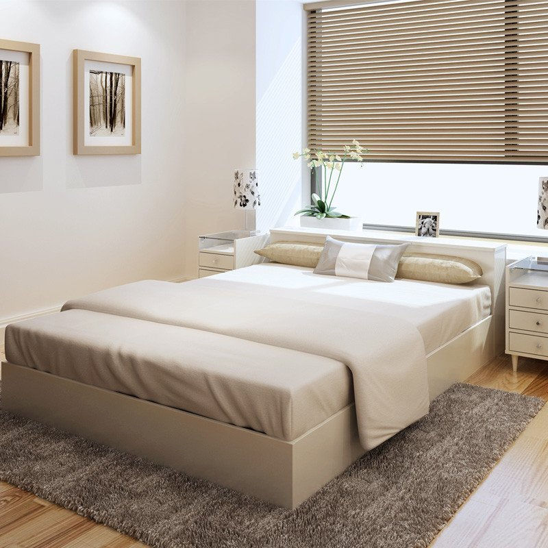 格维朗 双人床单人床大床木床板式床 高箱头柜床 1.8m乳白