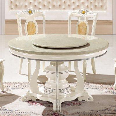 欧德里圆桌 欧式餐桌板式餐台带转盘白色圆餐桌小户型吃饭桌子