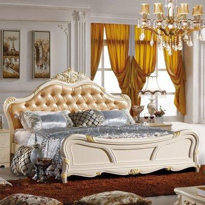 欧式实木双人床 韩式真皮艺公主床田园婚床卧室家具