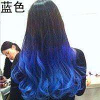 清水色彩亮膜韩国头发清水打蜡膏渐变色挑染头发指甲油酸性染膏 蓝色