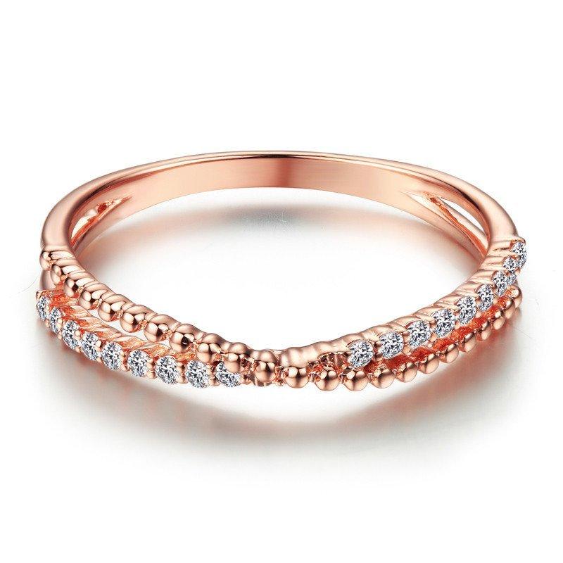 黛贝林珠宝正品18k玫瑰金钻石戒指扭臂群镶排钻关节戒
