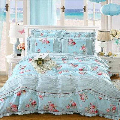晶品皇家家纺欧式贡缎全棉套件丝绵提花四件套床上用品1.8*2.