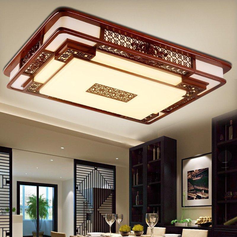 家御福 现代中式led卧室吸顶灯客厅餐厅家居仿羊皮装饰灯具实光方形