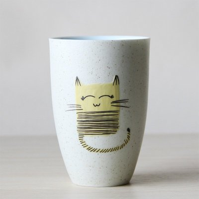 景德镇陶瓷杯子 手工个性水杯 创意手绘磨砂单手杯 手工绘画卡通陶瓷