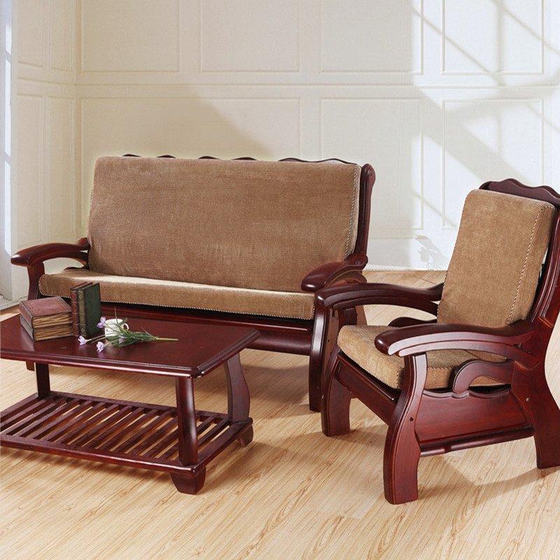 梦诗意 素色玉米粒实木沙发坐垫带靠背 红木三联海绵垫子 50*160cm