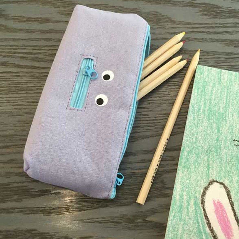 韩国文具 可爱搞怪闭嘴倒帆布笔袋布艺创意文具拉链文具袋铅笔袋