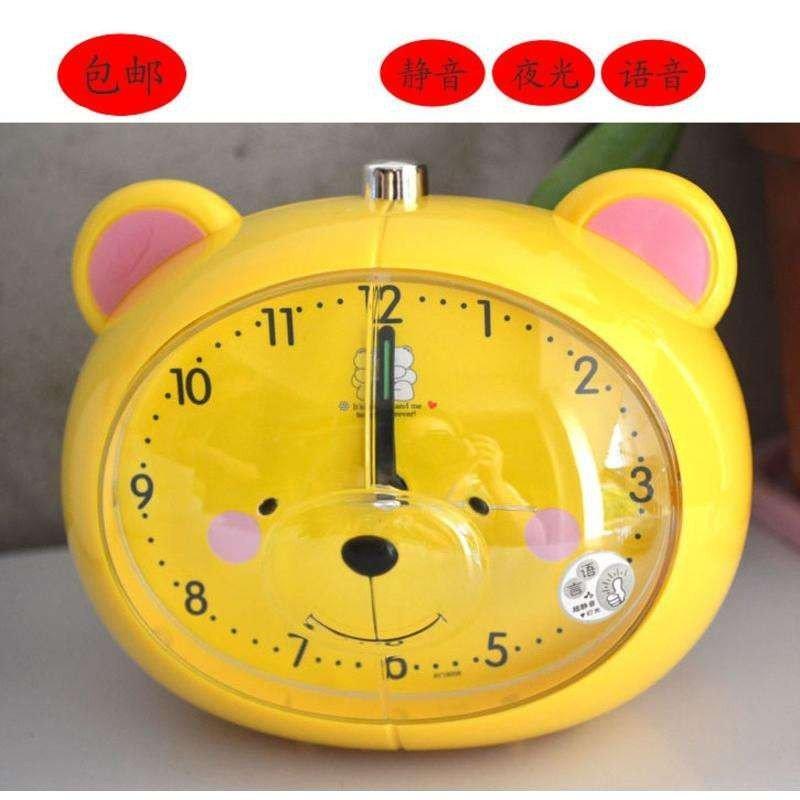 包邮静音带会说话闹钟 学生工艺品礼品 可爱小熊卡通语音闹钟 白色