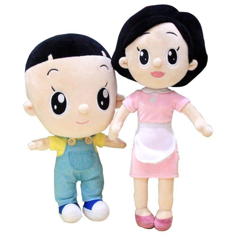 时光小站毛绒玩具大头儿子围裙妈妈小头爸爸玩偶儿童可爱生日礼物