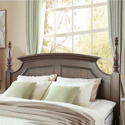 美式乡村卧室家具实木床jna05黑胡桃色