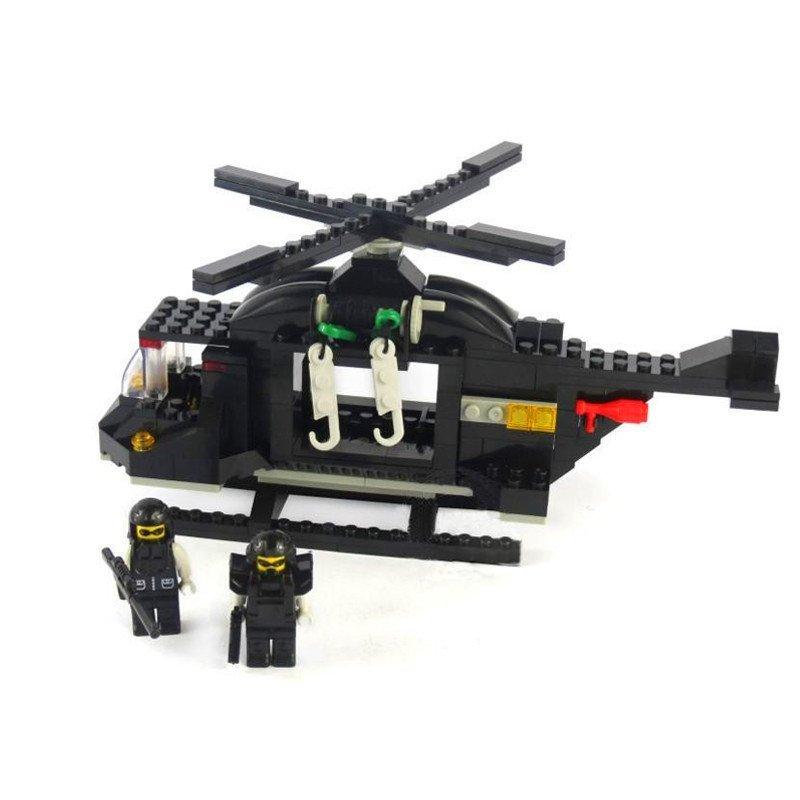 沃马c9703神勇特警直升机214片塑料拼装积木男孩益智玩具高清实拍图