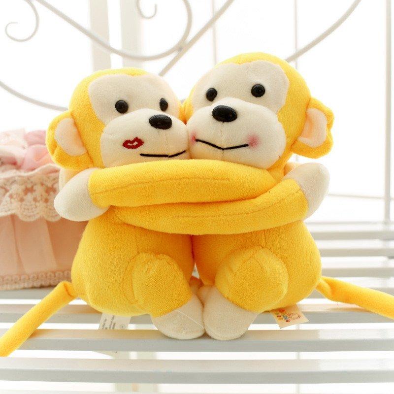 可爱情侣猴子拥抱猴玩具公仔 床头娃娃毛绒猴子玩具结婚送礼 黄色一对