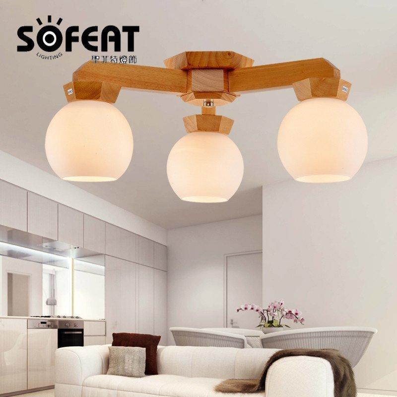 圣菲特 现代原木色中式灯实木led吸顶灯客厅灯卧室灯日式榻榻米书房