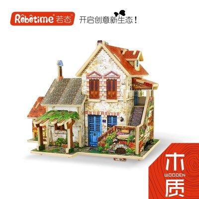 积木拼图益智模型世界风情木质diy小屋成人儿童玩具积木 日本杂货店