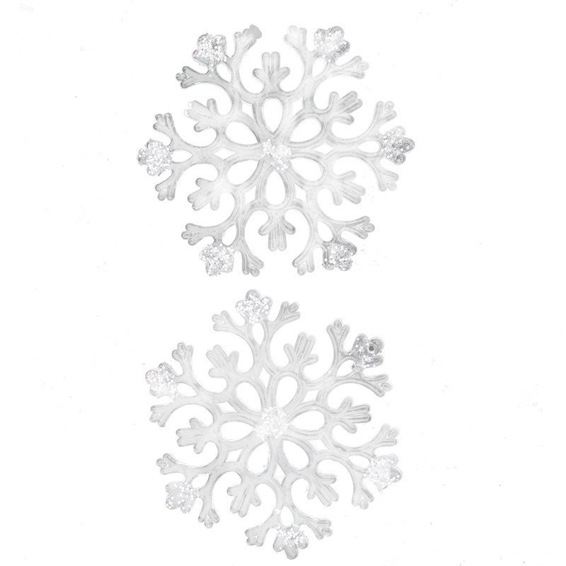 欢乐派对圣诞 透明粘亮片雪花片亚克力塑料雪花片圣诞装饰品亚克力