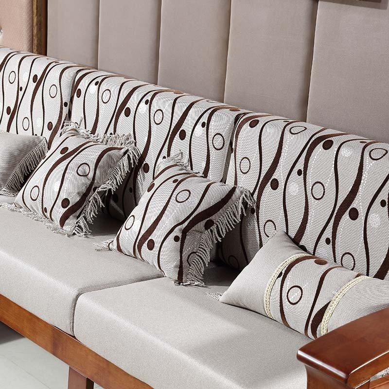 实木沙发组合 搭配茶几两件套 进口橡木 中式实木 l型木质贵妃沙发