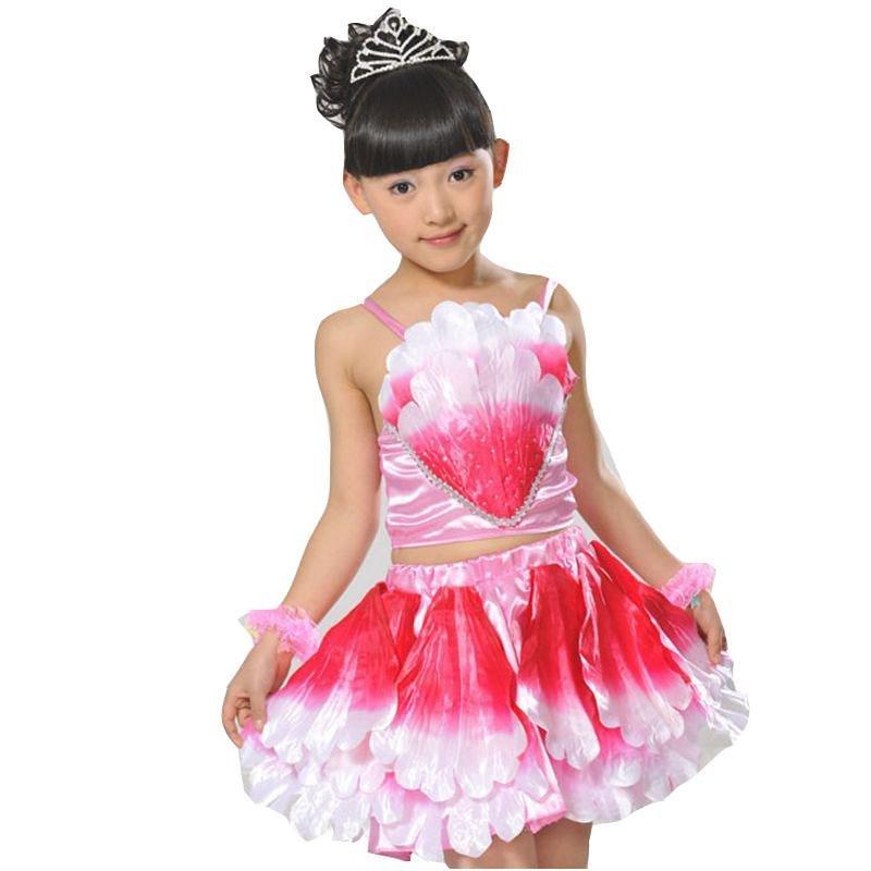 幼儿园女童渐变色公主短裙树叶拉丁六一舞台服甜美可爱风儿童舞蹈练功