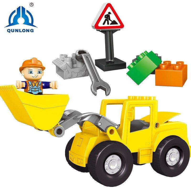 群隆 儿童积木益智积木铲车大颗粒积木男孩铲车大块积木拼装拼插玩具