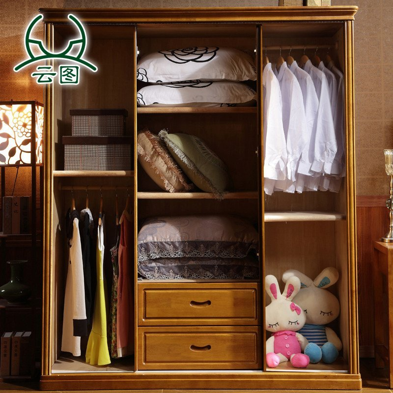 云图家具 新中式衣柜 整体衣橱木质大衣柜现代推门柜子家具