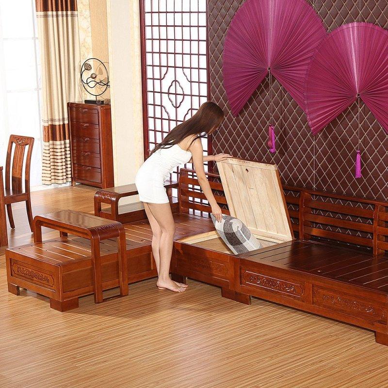 实木沙发水曲柳 现代中式客厅组合沙