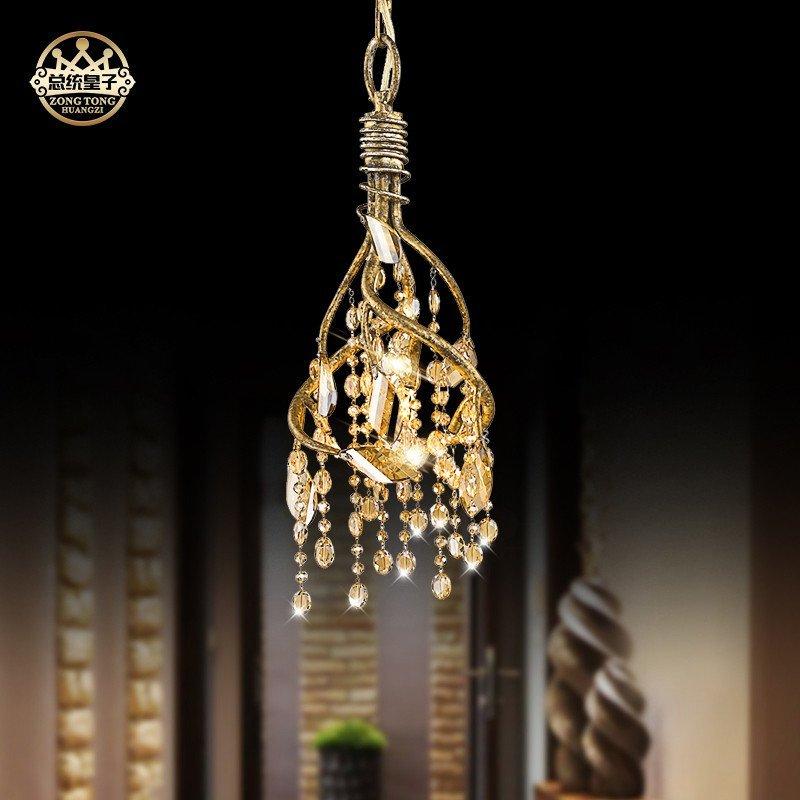 美式复古创意艺术田园树枝别墅复式楼水晶吊灯主卧室客厅大气灯具