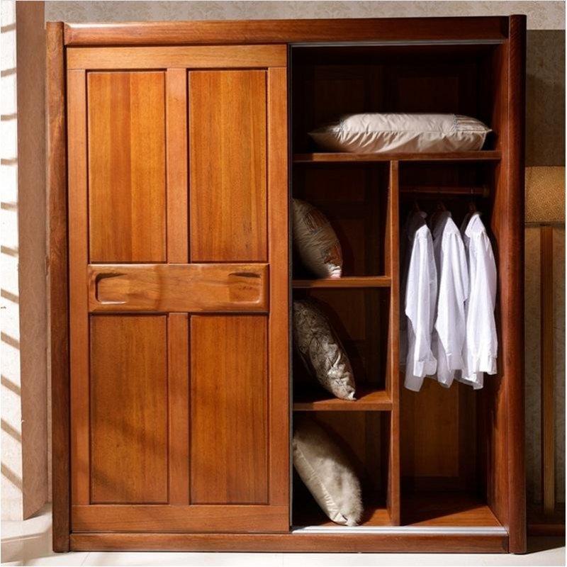 高舒 现代中式简约 胡桃木全实木衣柜四门推拉门整体大衣橱立柜 原木