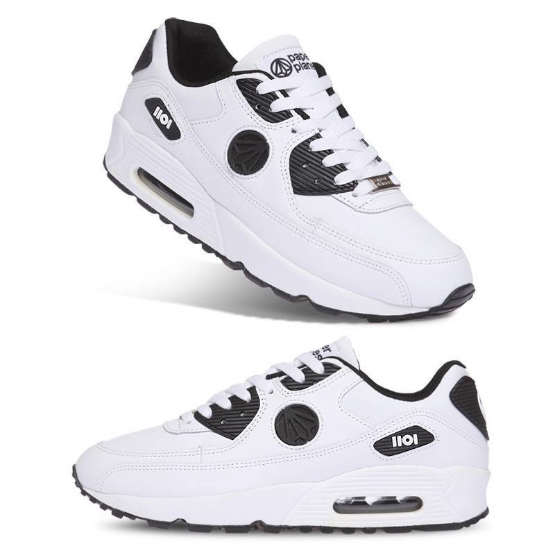 [纸飞机]100%韩国正品pp1101 男女情侣气垫运动鞋 _wb 白黑色 38.5码