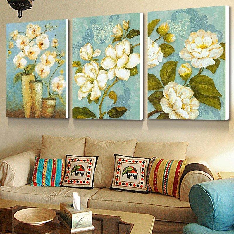 柠檬树 客厅装饰画 现代三联画无框沙发背景墙挂画画餐厅壁画