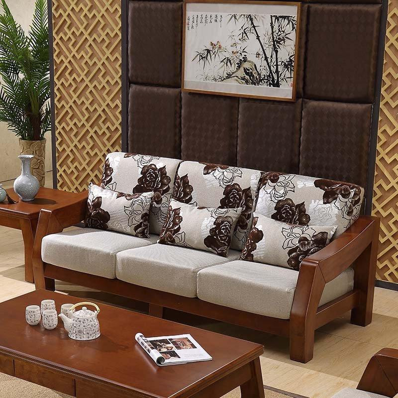 进口橡木 中式实木 u型木质沙发 布艺坐垫 大户型 客厅套房家具9801