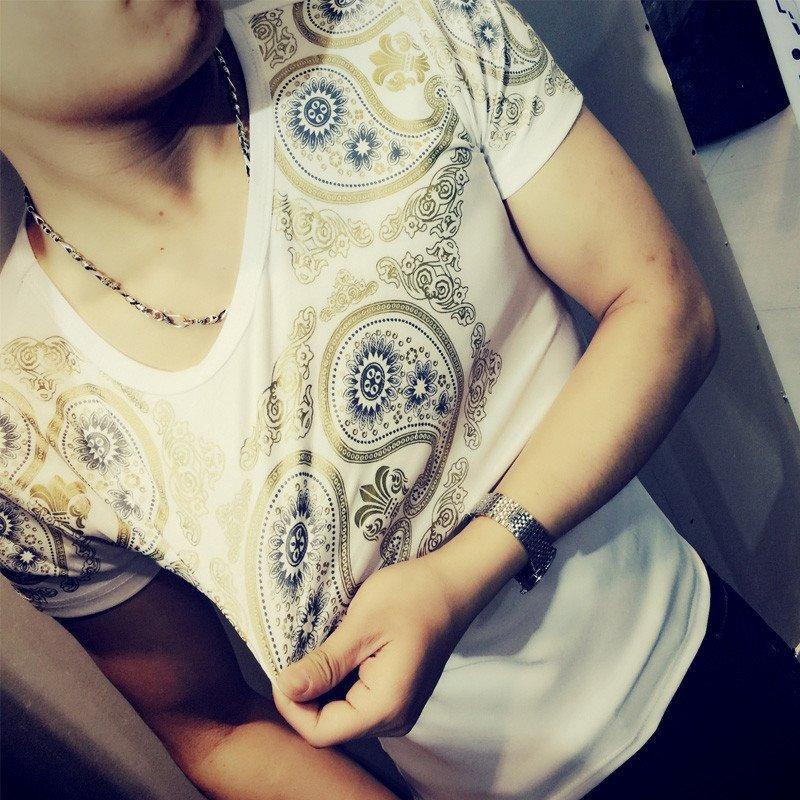 丹杰仕 夜店潮男装夏季短袖t恤衫 快手红人同款精神小伙圆领半袖t恤图片