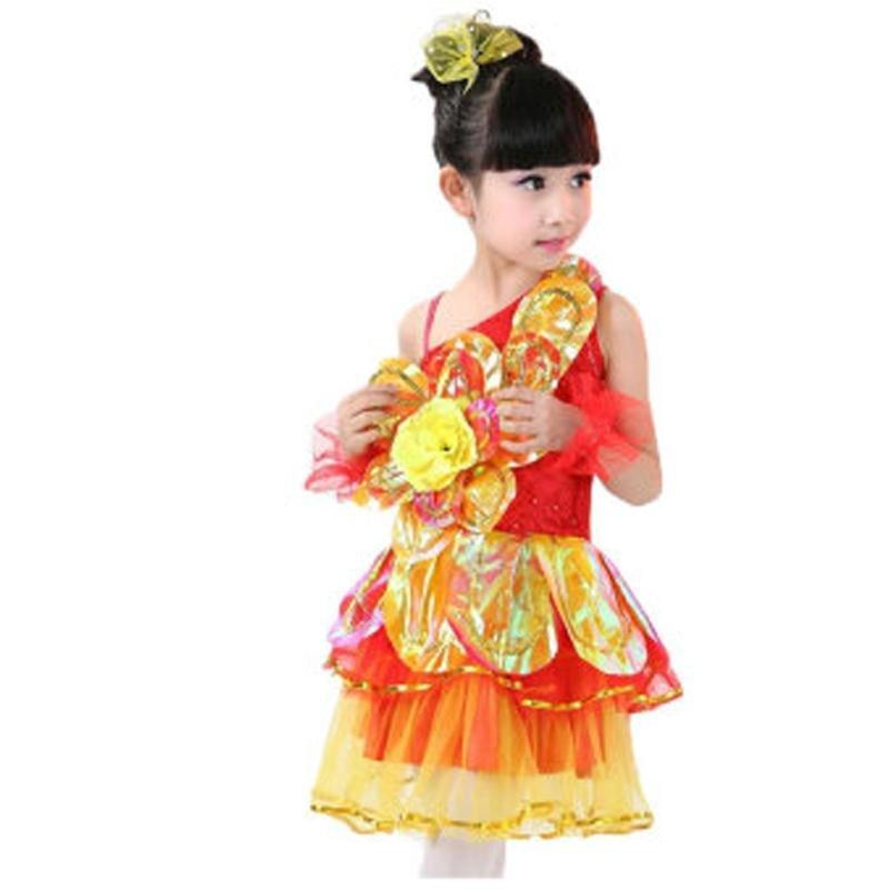 六一儿童小学生 幼儿园表演舞蹈裙 演出服装现代舞可爱树叶舞台服 150图片