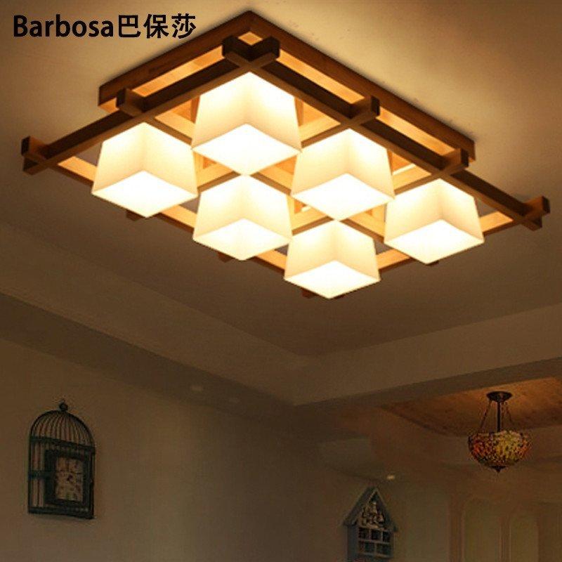巴保莎原木北欧美式客厅灯卧室灯现代简约灯具新中式吸顶灯橡木餐厅灯