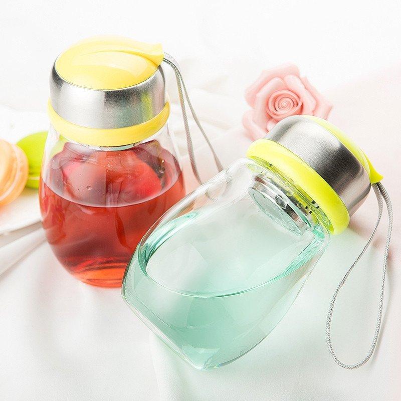竹栖企鹅玻璃杯大肚牛杯子 便携可爱创意学生嘟嘟杯过滤茶杯 280ml