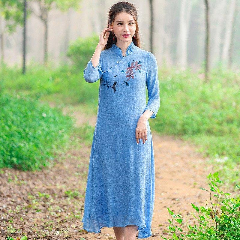 莲香情2016新款民族风大码女装长裙子中国风手绘修身棉麻中袖连衣裙jm