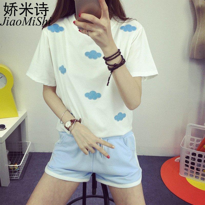 娇米诗2016夏季日系满身云朵甜美可爱短袖宽松t恤学生女装上衣 l 白色