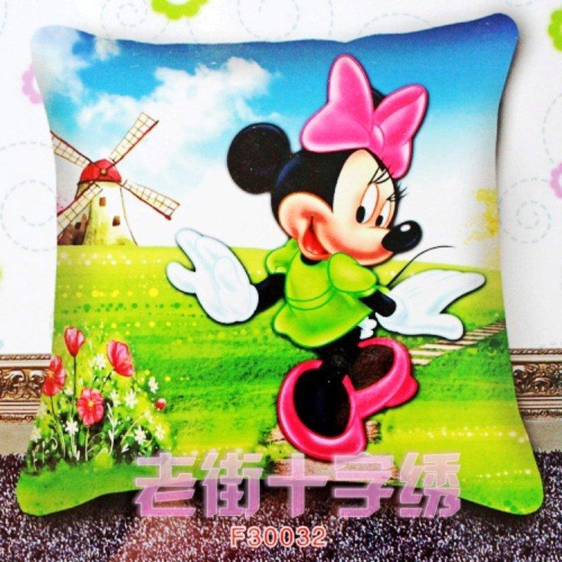 米老鼠女5d刺绣十字绣汽车抱枕情侣一对卡通动漫儿童新款3d枕套卧室