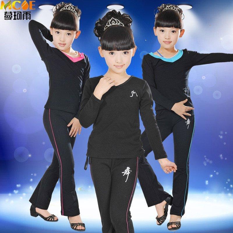 儿童舞蹈服装女童拉丁练功服 幼儿长袖演出服装表演服套装春秋款 tz