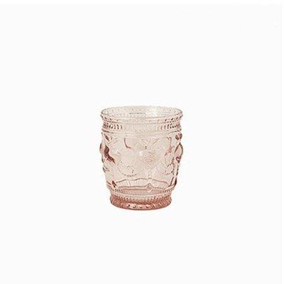 欧式复古浮雕水晶玻璃杯 水杯 茶杯 甜品杯 新款粉色低杯